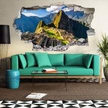 3D vinyl hole wall Machu Picchu