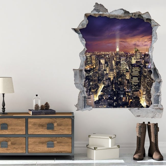 Vinyl 3D sunset in Manhattan New York