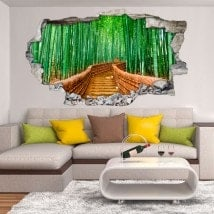 Vinyl 3D wall broken road and bamboos
