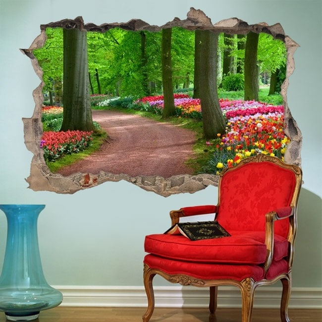 Vinyl 3D path among trees and flowers