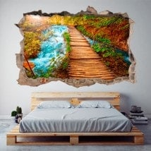 Vinyl 3D wall-broken way nature