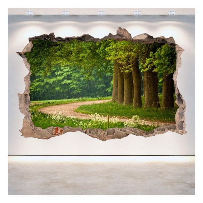 Vinyl 3D walls road and trees