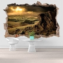Vinyl 3D sunset in the mountains English 5811