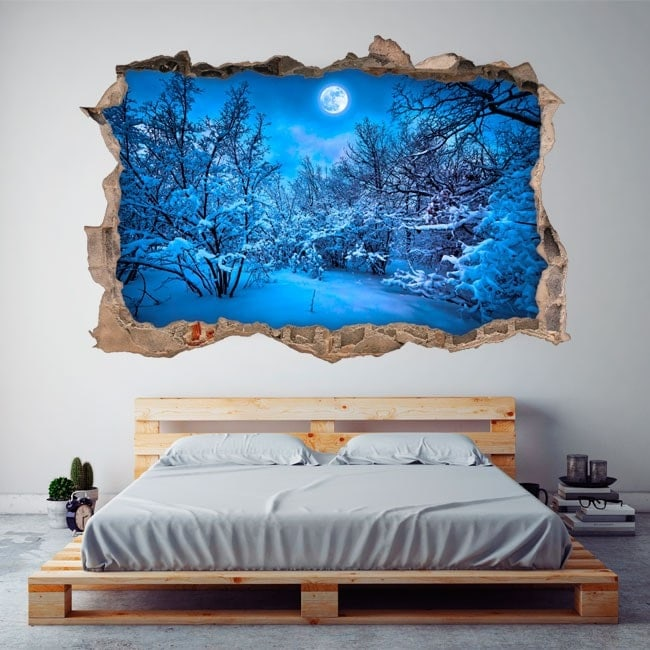 3D Moon vinyl filled snowy mountains