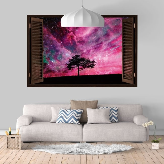 Vinyl windows 3D tree sky star