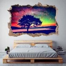 Vinyl 3D tree sky star