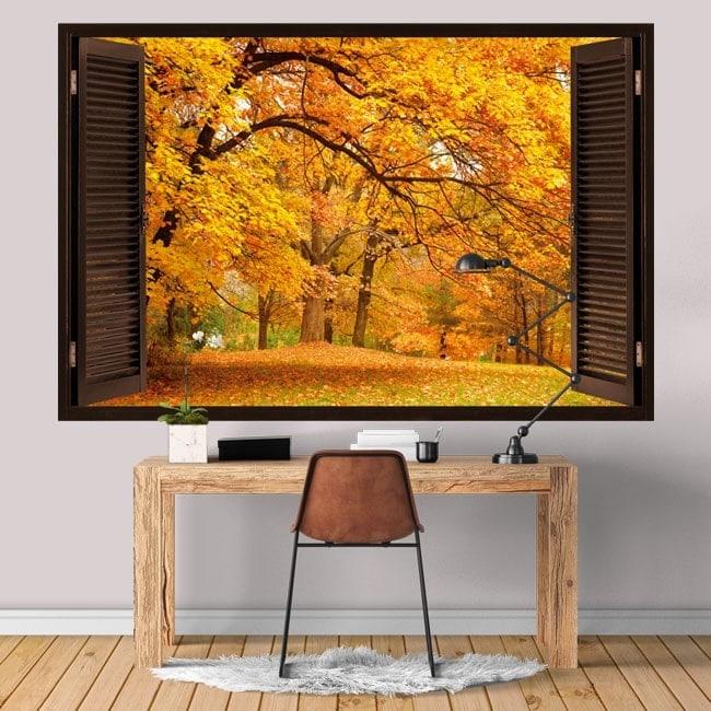 Windows in vinyl 3D trees autumn