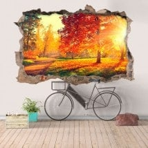 Vinyl hole wall 3D trees nature