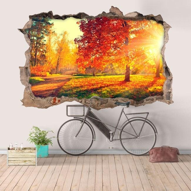 Vinyl hole wall 3D trees nature