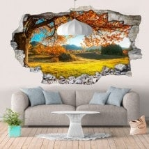 Vinyl wall 3D rotating tree meadow