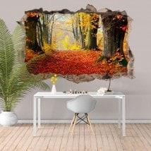 3D vinyl hole wall trees nature