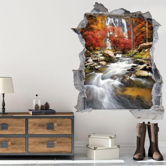 Vinyl 3D waterfall in autumn