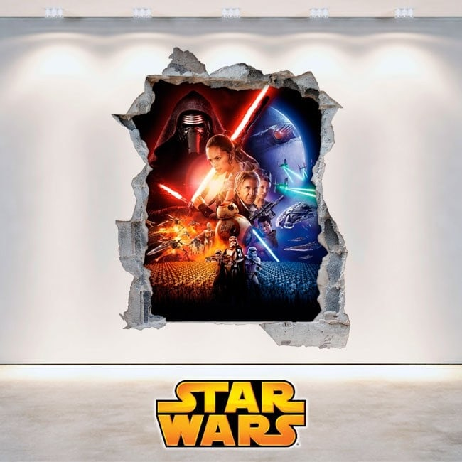 Vinyl Star Wars wall broken 3D