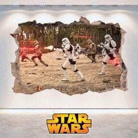 Star Wars stickers hole 3D wall