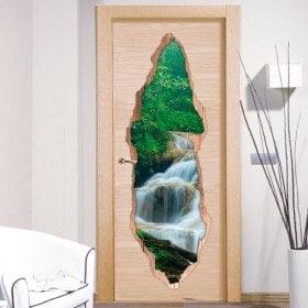 Door stickers waterfalls nature 3D