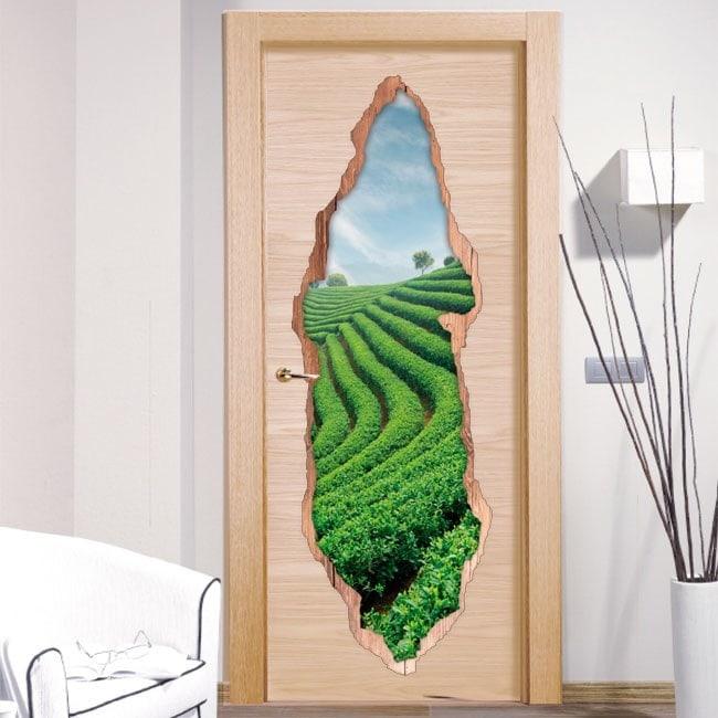 Door stickers tea plantation 3D