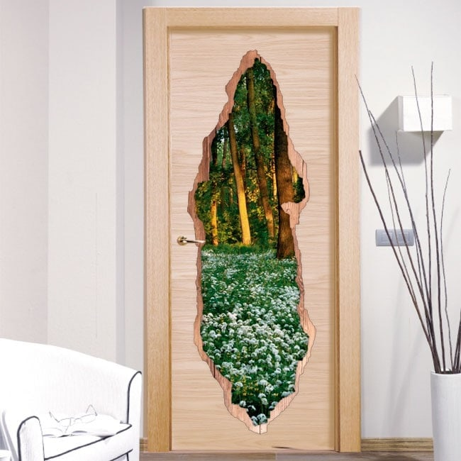 Vinyls for doors flowers in forest 3D