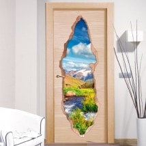 Vinyl for doors Brook in mountains 3D