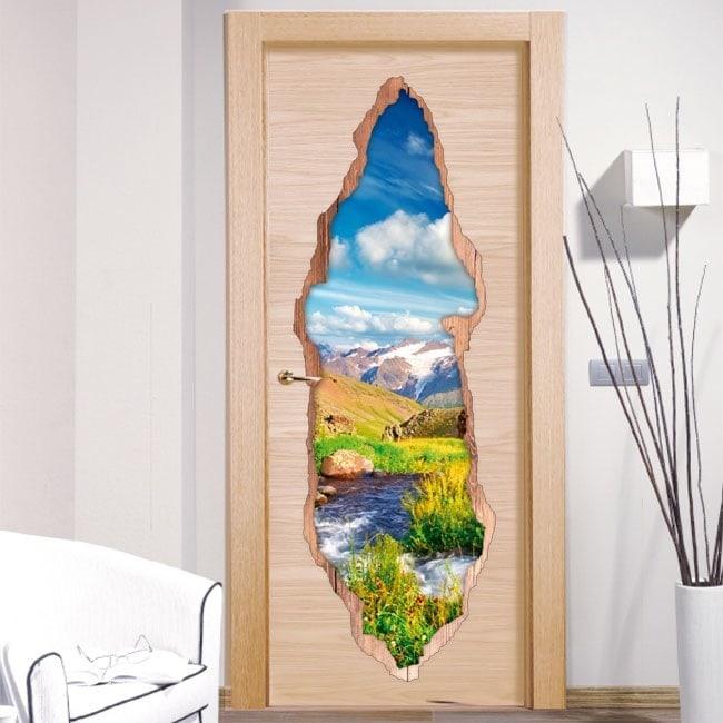 Vinyl for doors Brook in mountains 3D