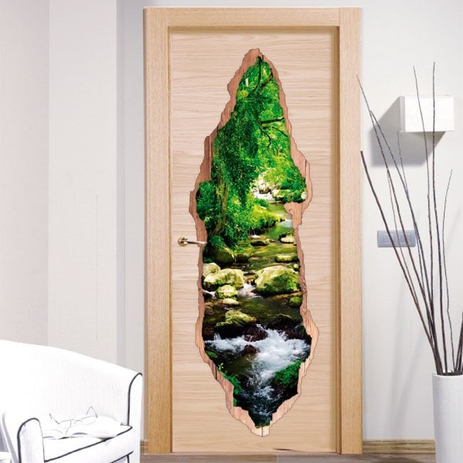 Vinyl doors Brook in forest 3D
