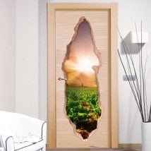 Sunset in the vineyard 3D doors vinyl