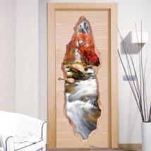 Vinyl door waterfall nature 3D