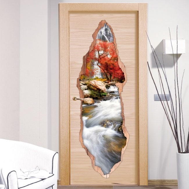 Vinyl door waterfall nature 3D