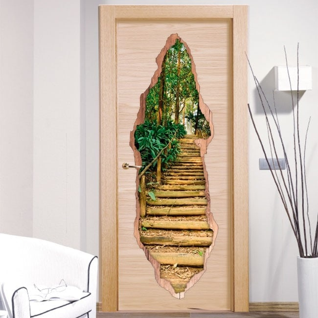Vinyls for doors staircase in the forest 3D