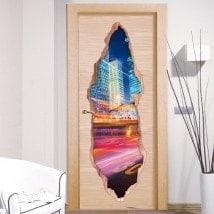 Vinyl for doors lights of city 3D
