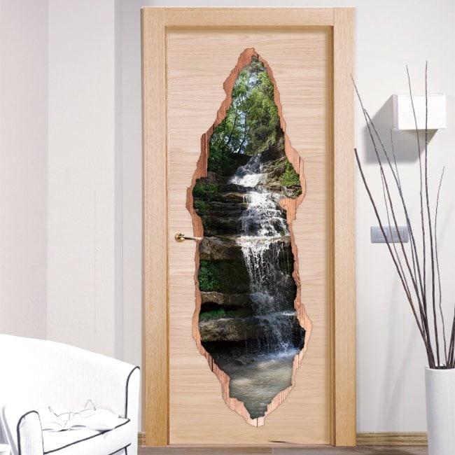 Vinyl door mountain waterfall 3D