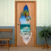 Vinyls for doors shark in the sea