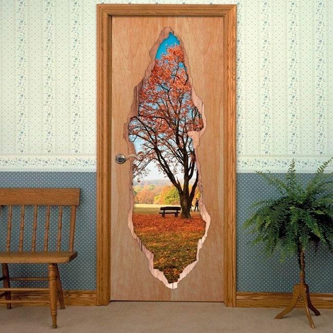 Vinyls for doors tree in autumn