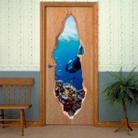 Vinyl door diver in the sea