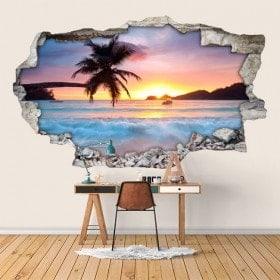 Vinyl 3D sunset on the beach