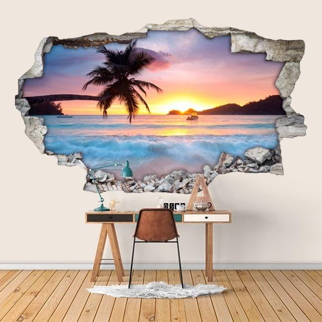 Vinyl 3D sunset on the beach English 6007