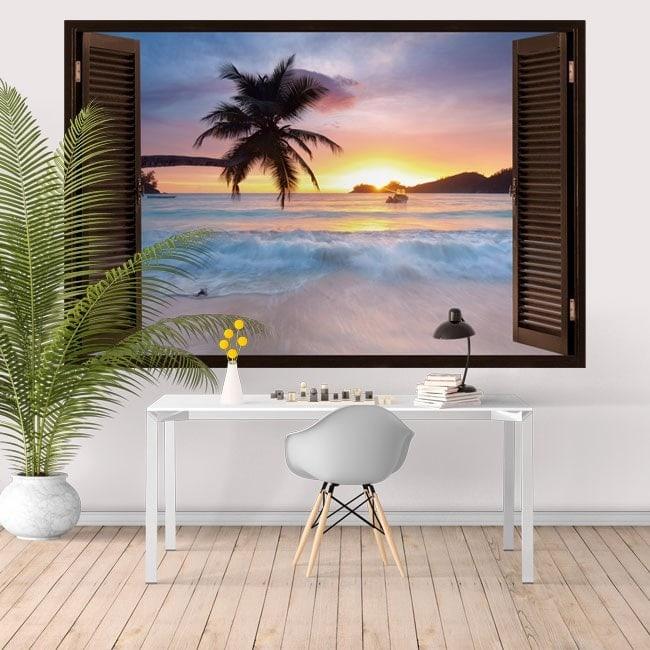 Windows in vinyl sunset on the beach 3D