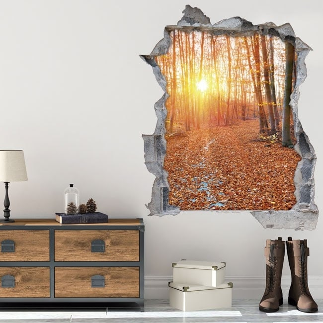 Vinyl 3D sunset in the forest