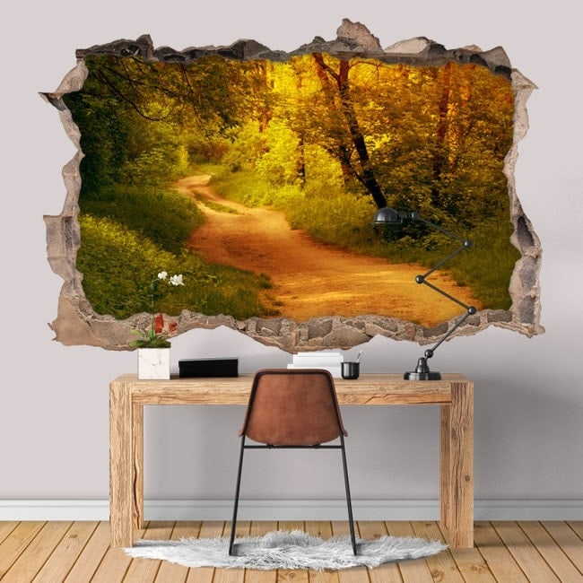 Vinyl hole 3D wall road in the forest