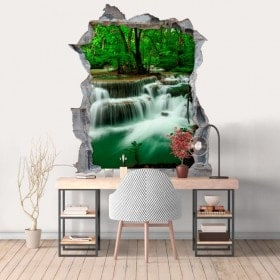 Vinyl hole wall 3D waterfalls nature