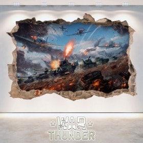 Decorative vinyl 3D War Thunder Tanks Battle
