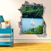 Vinyl decorative sailboat on Lake 3D