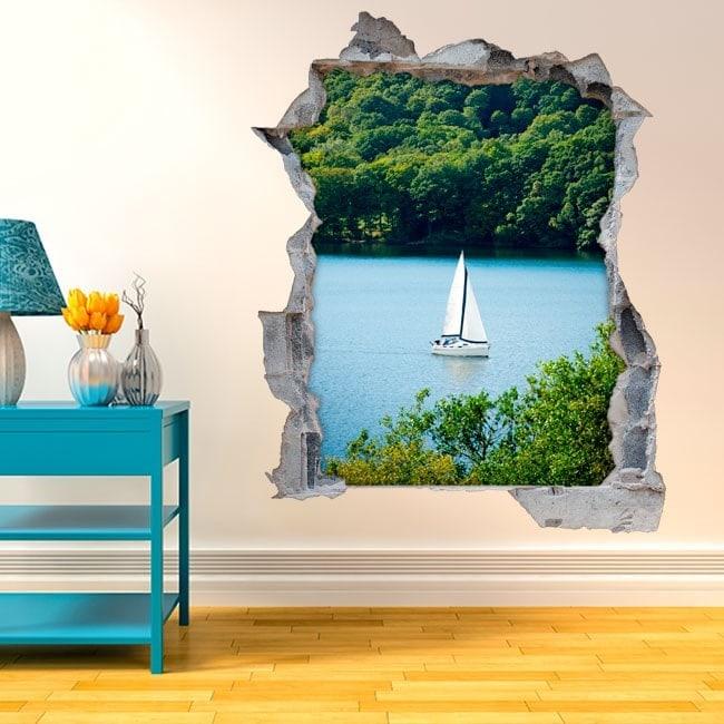Vinyl decorative sailboat on Lake 3D