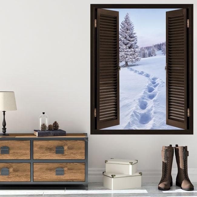 Windows in vinyl 3D snowy mountains