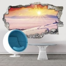 3D decorative vinyl sunset snow capped mountains