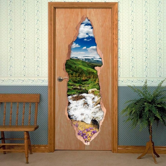 Vinyls for doors 3D Brook in the mountains