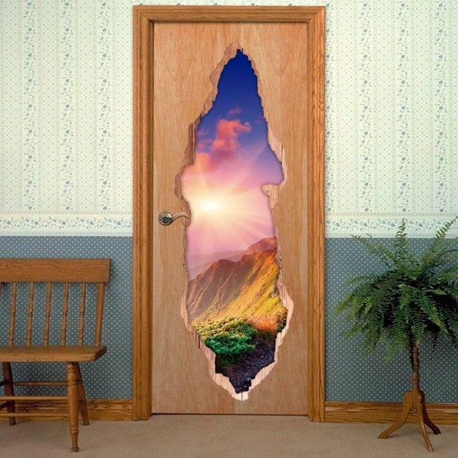 Vinyls for doors 3D sunset in the mountains