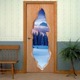 Vinyls for doors 3D snowy mountains