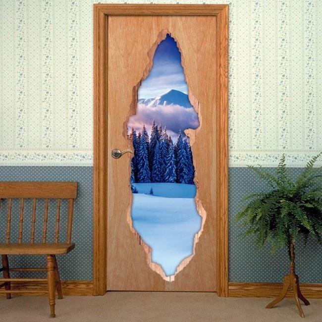 Vinyls for doors 3D snowy mountains