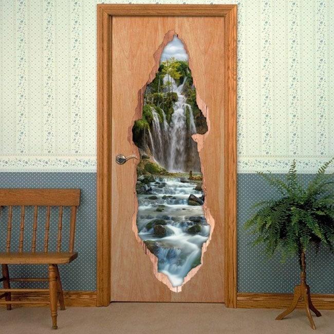 Vinyls for doors 3D waterfalls mountains