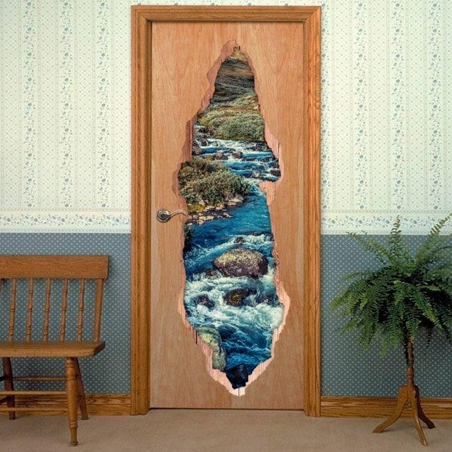 Vinyls for doors 3D Brook mountains